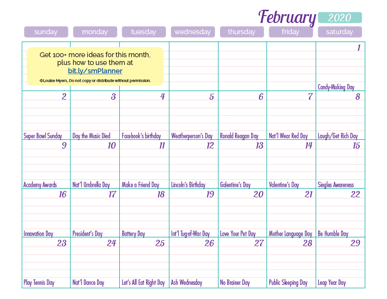 Download your printable February calendar in the FREE members area!