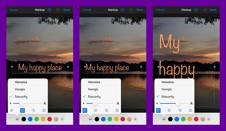 font adjustments in ios photos app.
