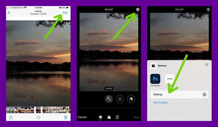 how to open the markup tools in ios photos app.