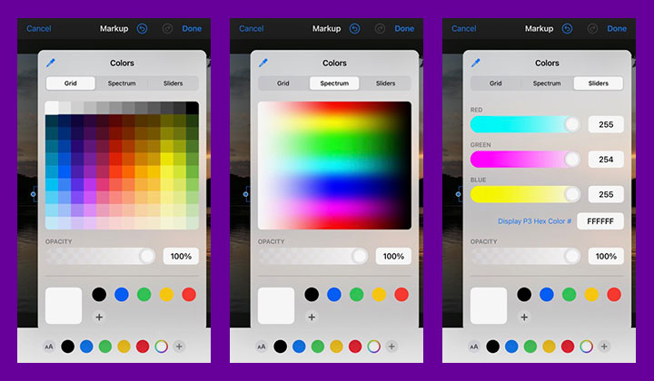 text color options in ios photos app.