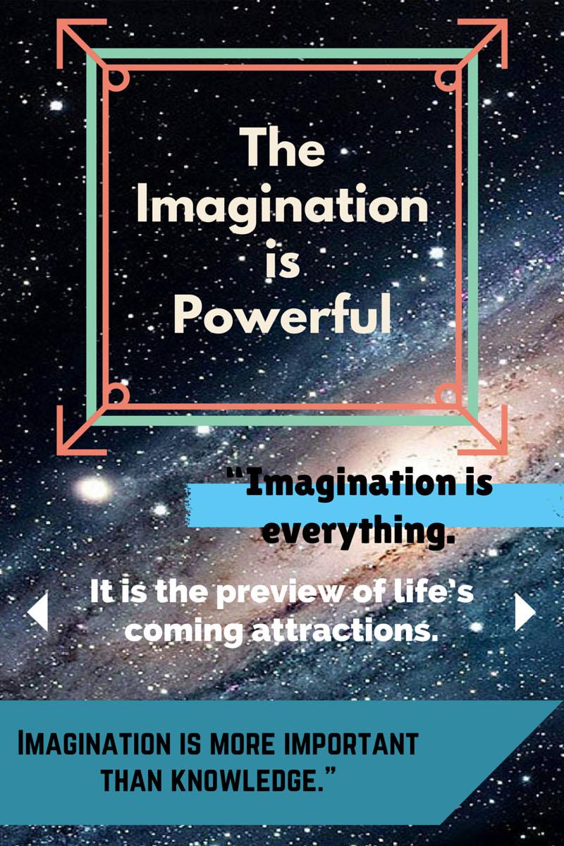 albert einstein quotes about imagination on starry background.