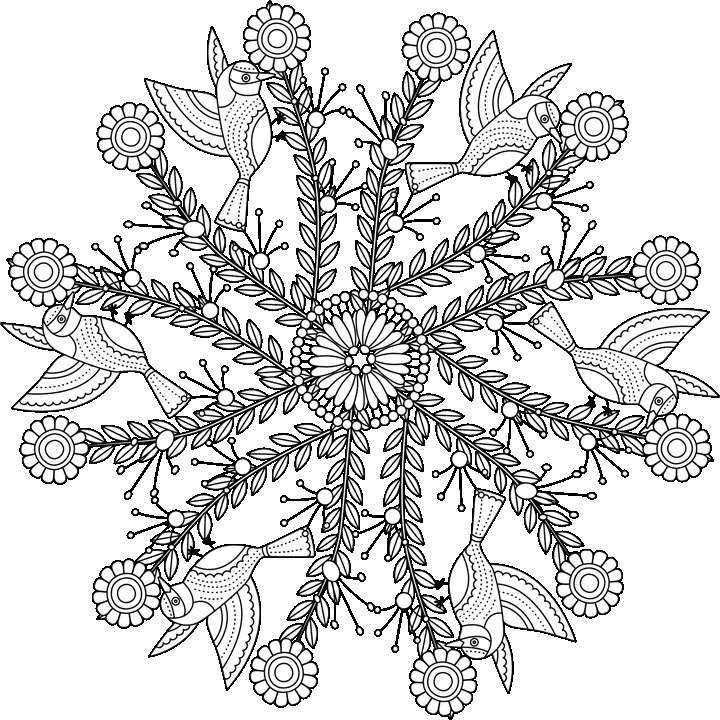 Free Coloring Page sample of Garden Mandala