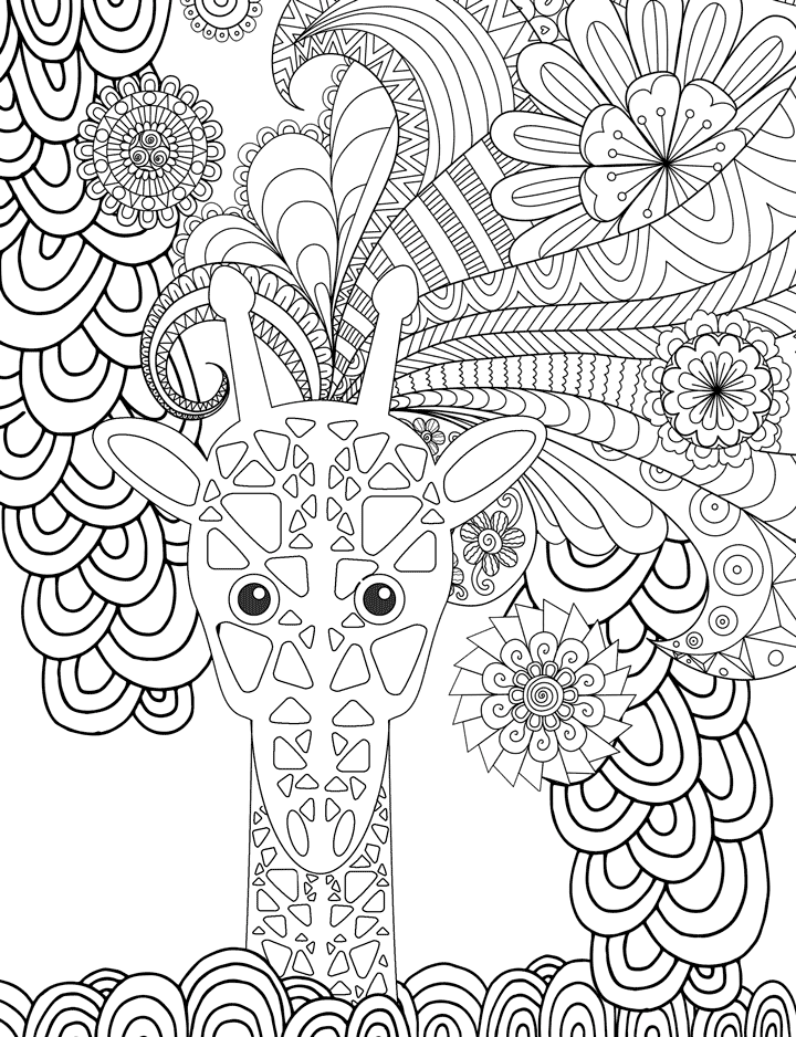 sample of free coloring page of giraffe