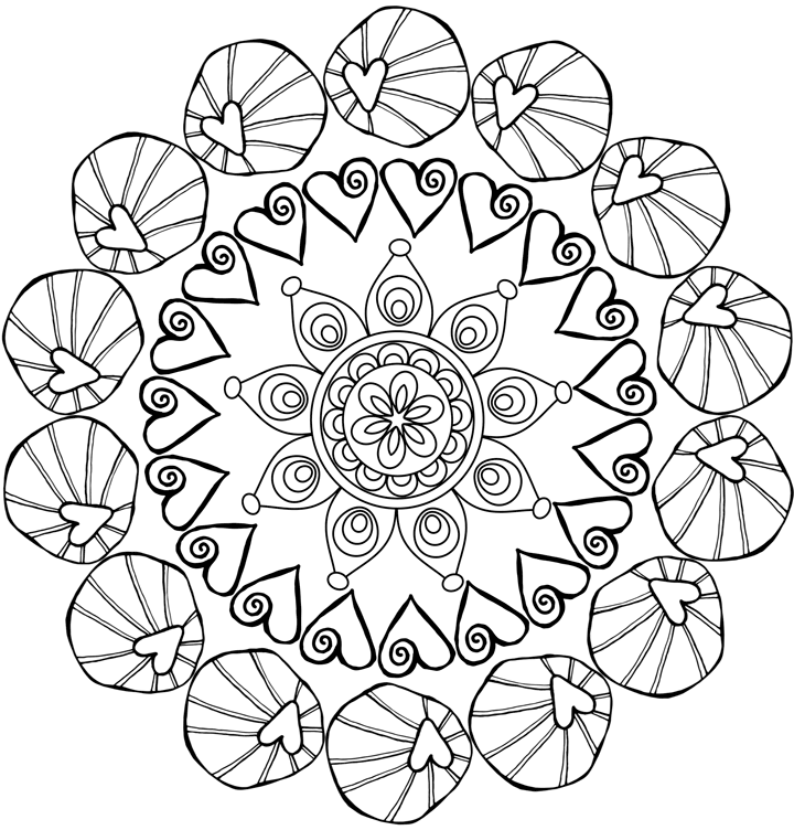sample of free coloring page of hearts and flowers design