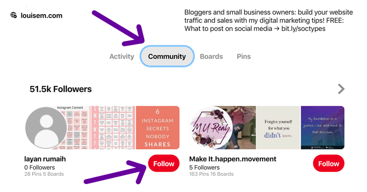 find and follow Pinterest followers