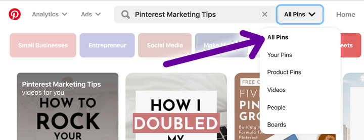 Pinterest search for Pins