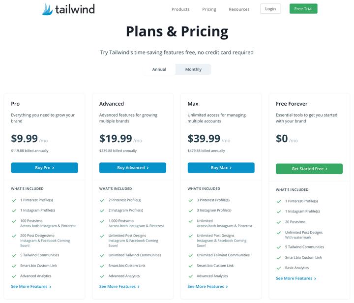 Tailwind pricing plans comparison chart.