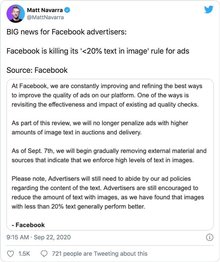 screenshot of Matt Navarra tweet about facebook text rule