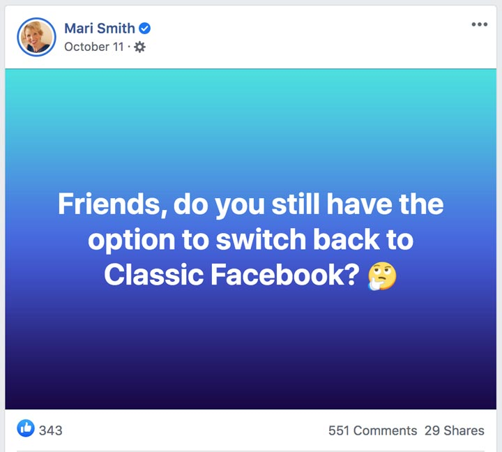 screenshot of facebook post switching to classic