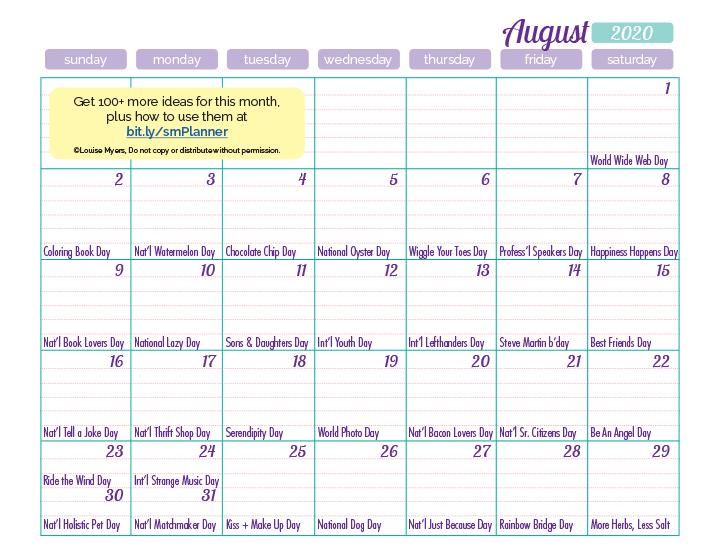 August 2020 content ideas calendar