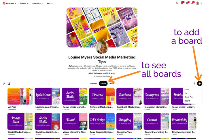 how to find your pinterest boards screenshot.