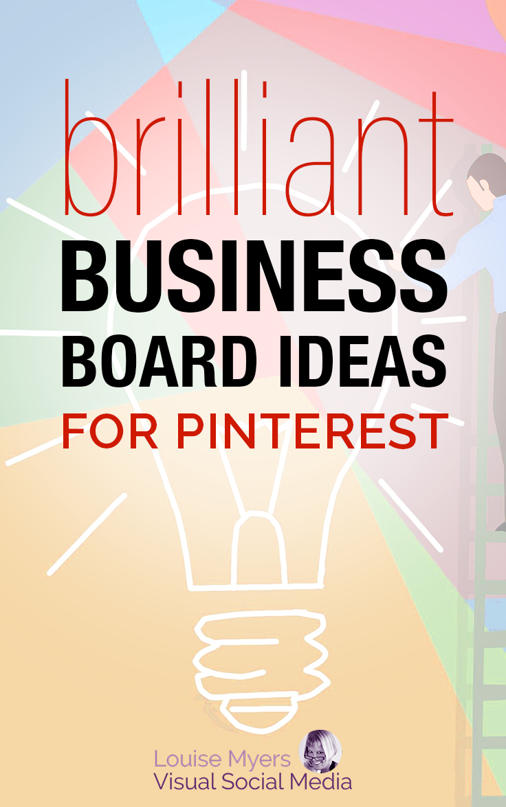 brilliant business board ideas text on pastel lightbulb pinnable graphic.