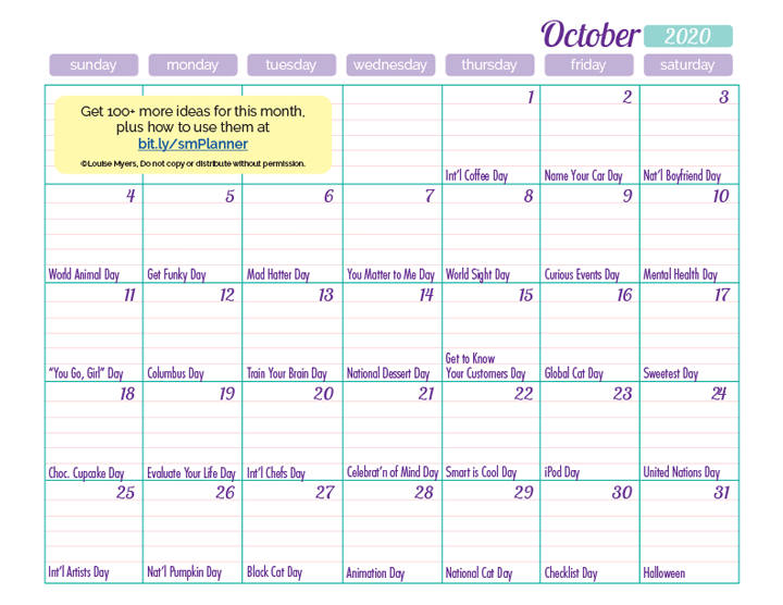 Download October's printable PDF calendar in the FREE members area!