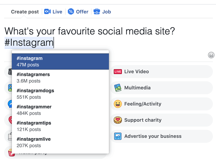 Facebook hashtag suggestions with usage counts screenshot