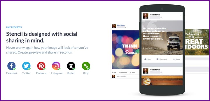 Social sharing from Stencil screenshot