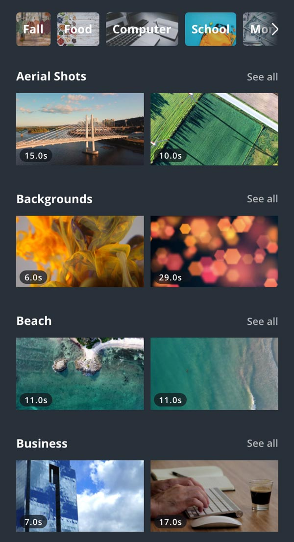 Canva library of stock videos screenshot