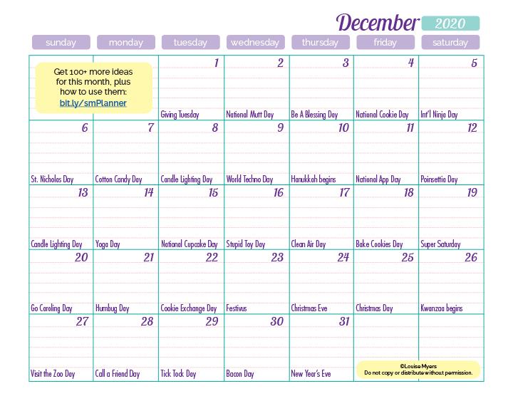 December 2020 marketing calendar
