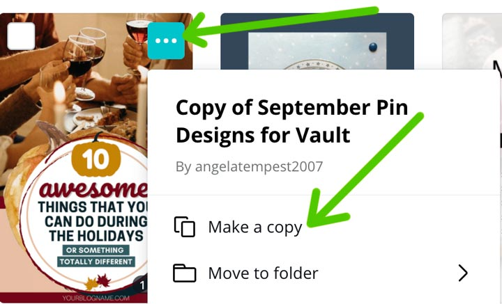 how to make a copy of the canva pin template