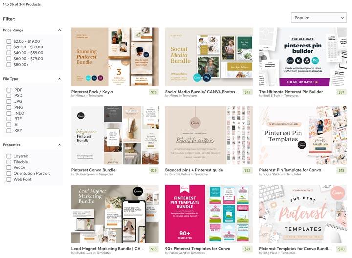 Creative Market Pin templates