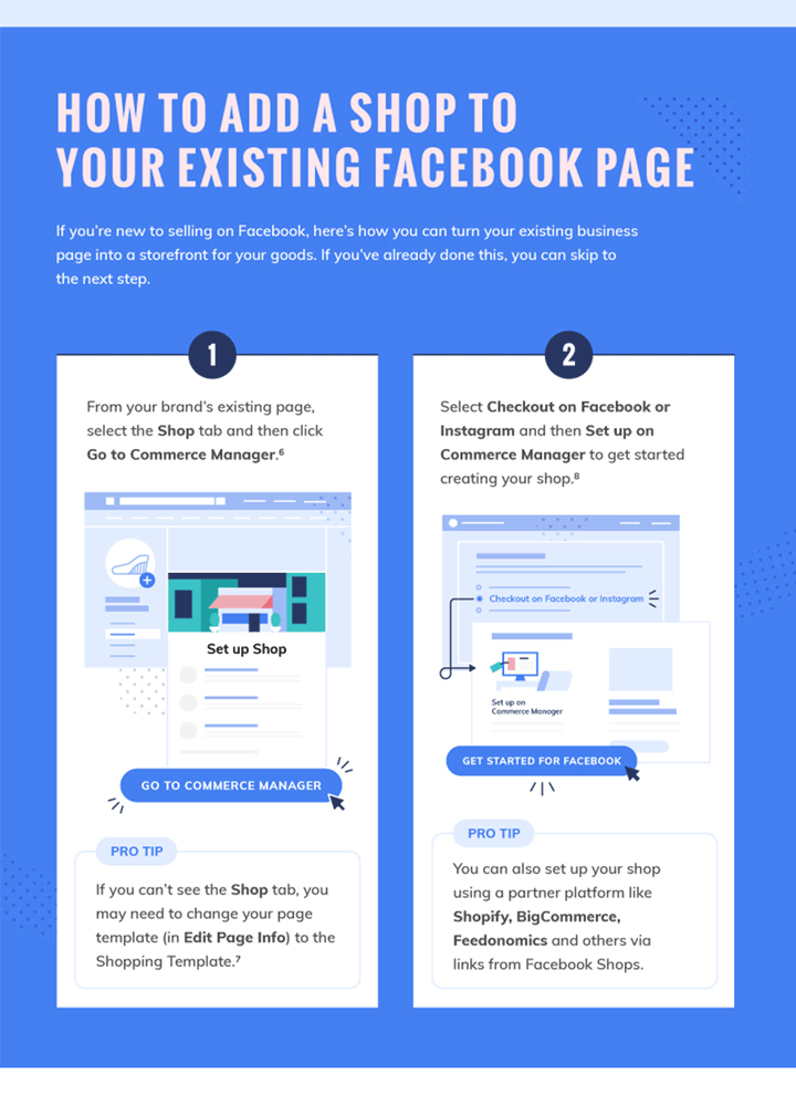How to add facebook shop to page infographic