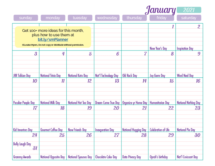 January marketing calendar