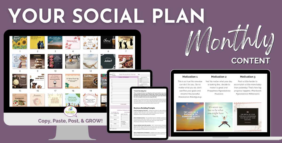 pictures of all you get in your social plan monthly.