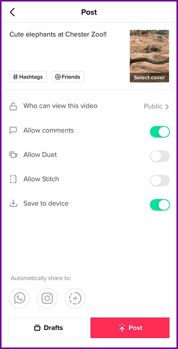 tiktok video options screenshot