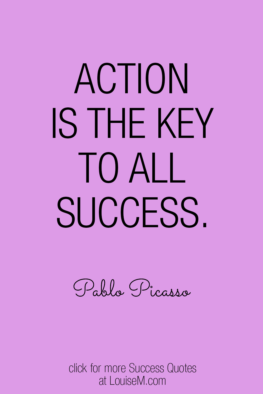 Pablo Picasso success quote on purple background