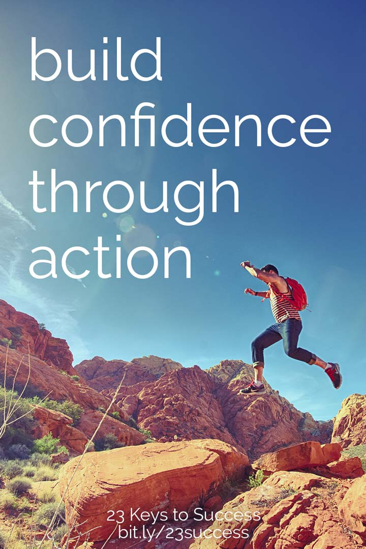 Build self-confidence through taking action success tip graphic
