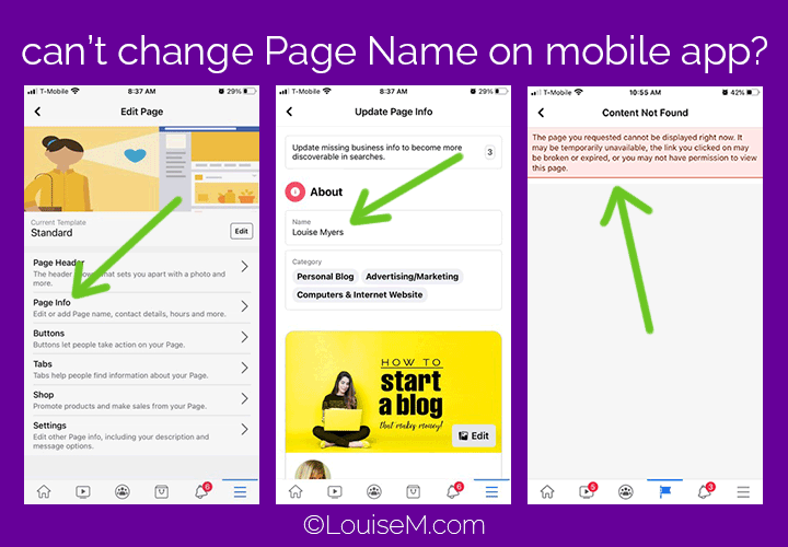 How to change your Facebook Page name on mobile screenshots.