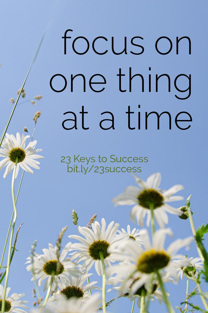 Focus on one thing at a time success tip graphic