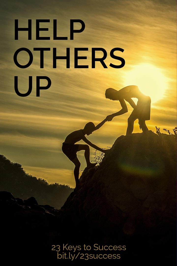 Help others up success tip graphic