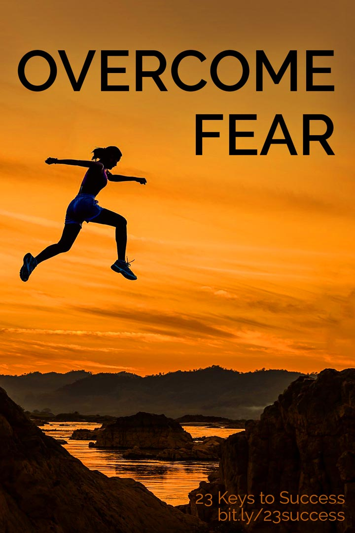 Overcome fear success tip graphic