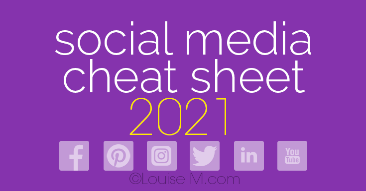 2020 Social Media cheat sheet banner with Facebook, Twitter, LinkedIn, Pinterest, Instagram, YouTube icons