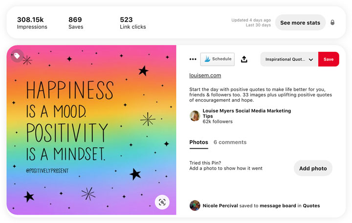 square Pinterest image with stats