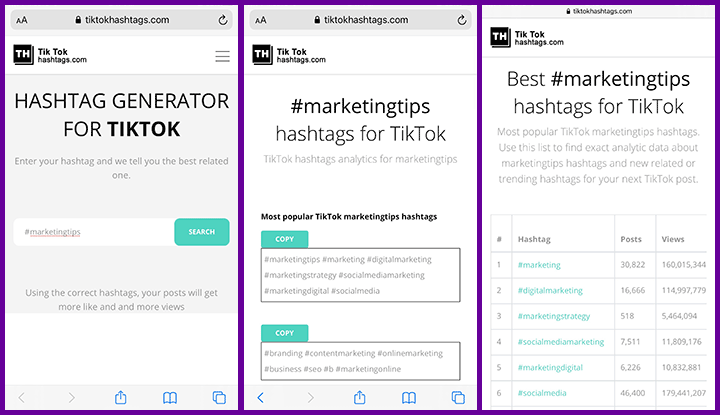 screenshots of tiktok hashtag generator tool
