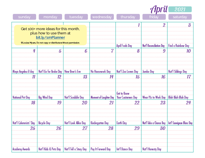 free April content inspiration calendar