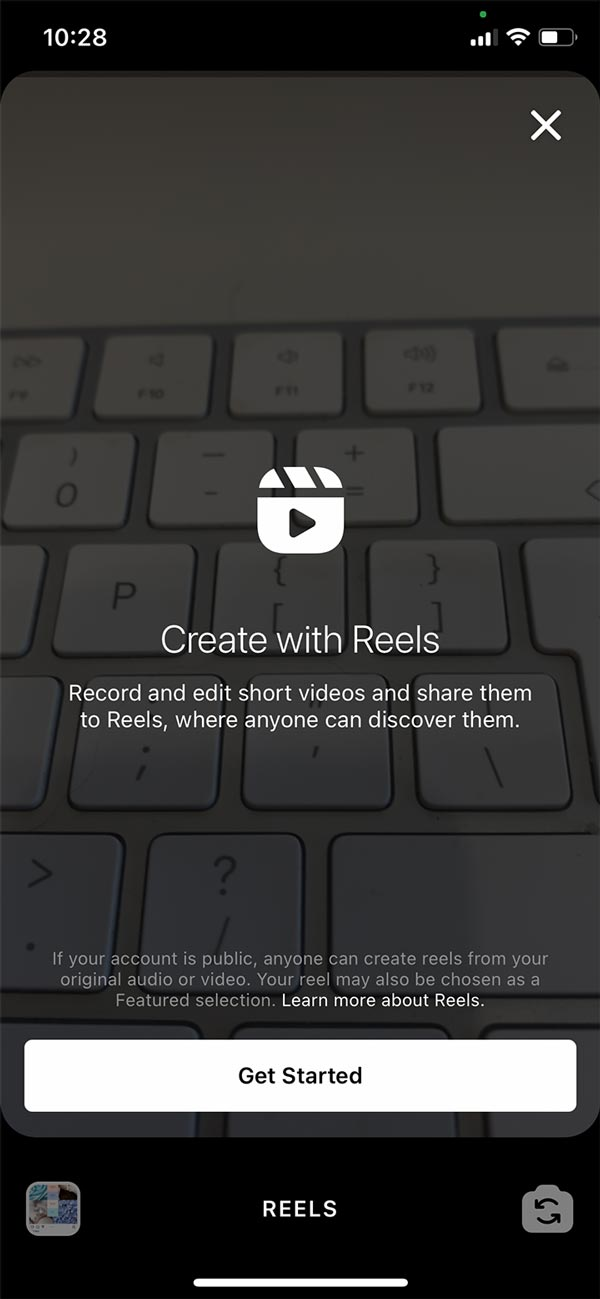 How to create a Reel on Instagram screenshot.