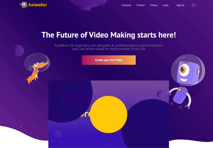 Animaker video making app screenshot.