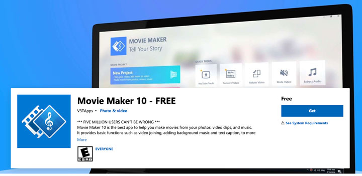 Windows Movie Maker screenshot.