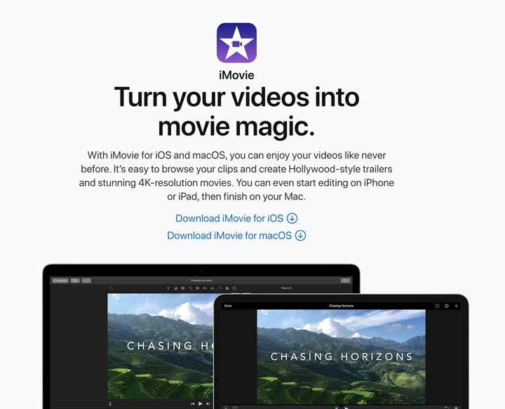 iMovie for Mav video editor screenshot.