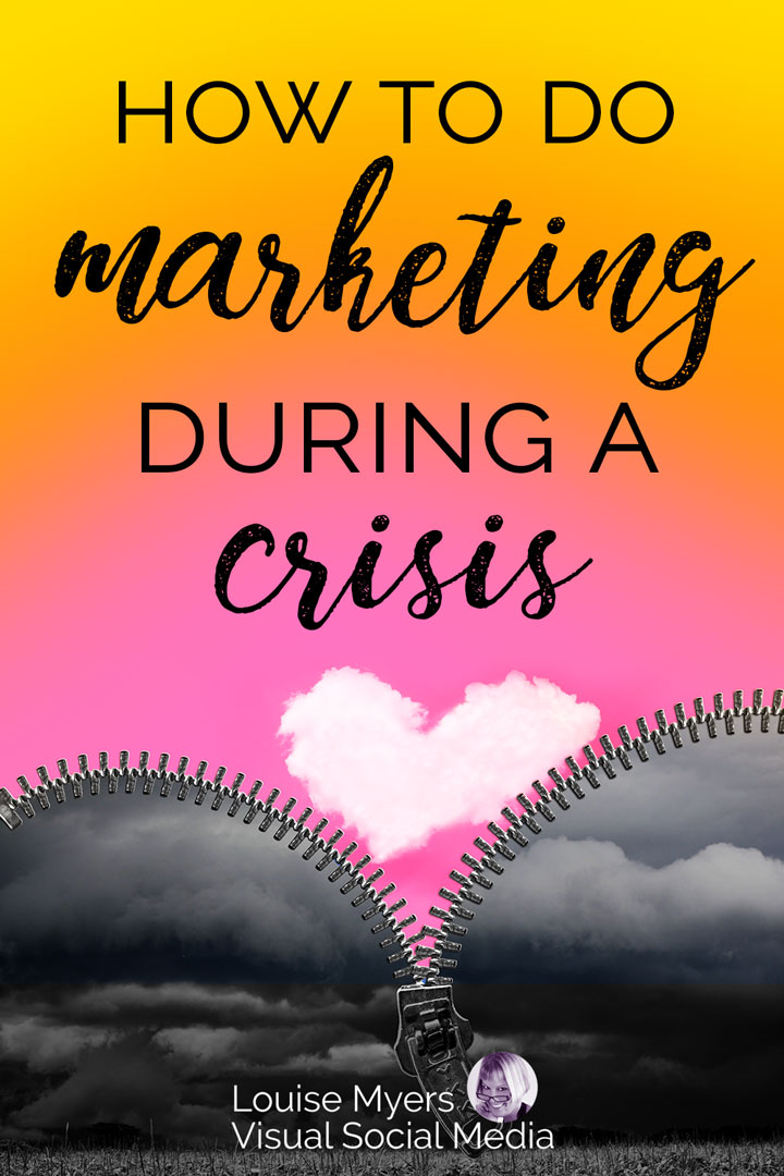 bright sky behind dark clouds with text how to do marketing during a crisis.