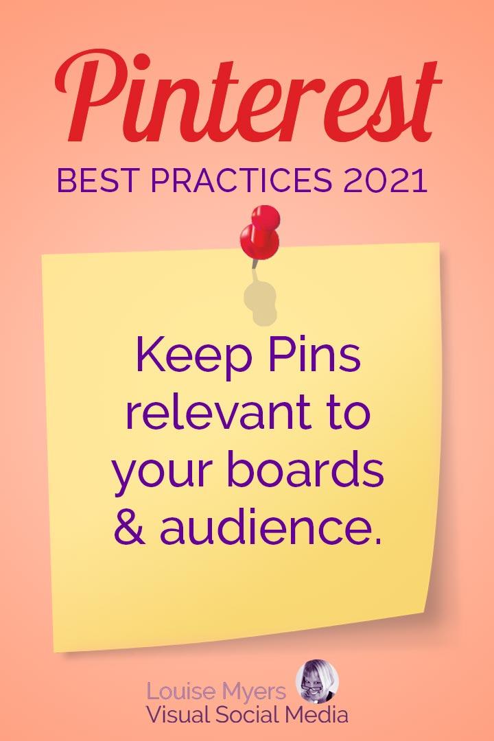 Pinterest prefers relevant Pins