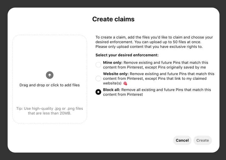 how to create claims on the Content Claiming Portal.