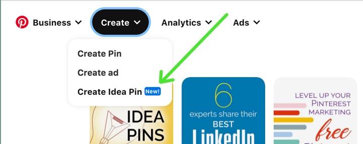 screenhot showing how to start an idea pin on desktop.