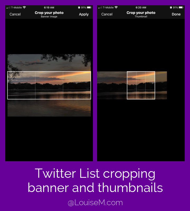Screenshot showing how to crop your uploaded Twitter list image for banner and thumbnail.