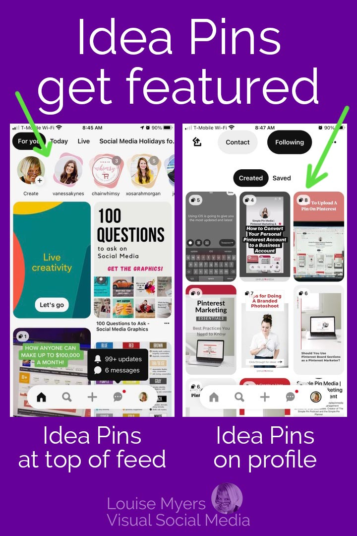 screenshot ahowing how idea pins are featured on Pinterest.
