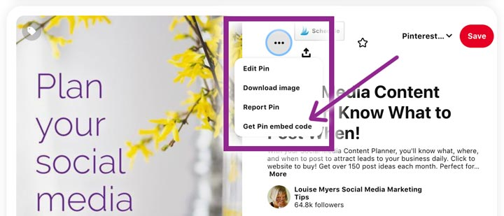how to get pinterest embed code