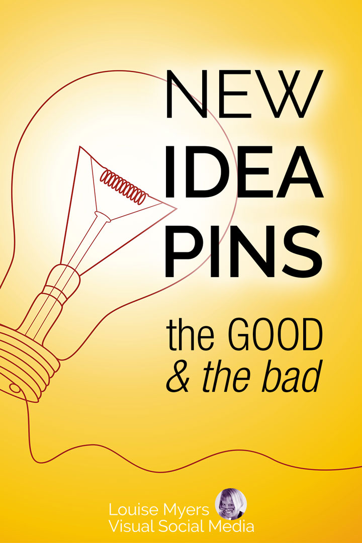 pinnable image with text idea pins good or bad on yellow light bulb.