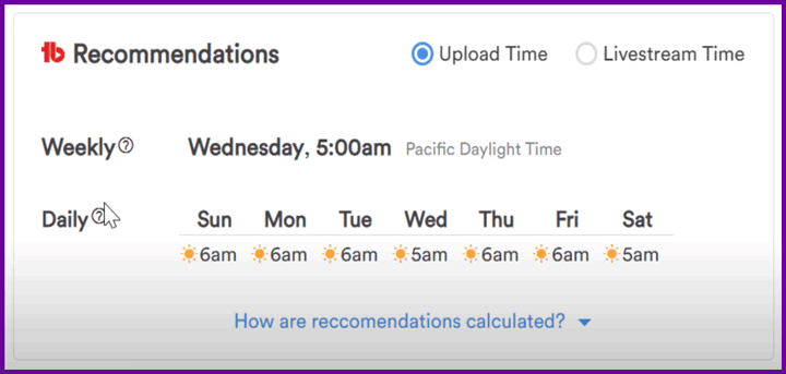 screenshot of tubebuddy recommendations for best time to post.